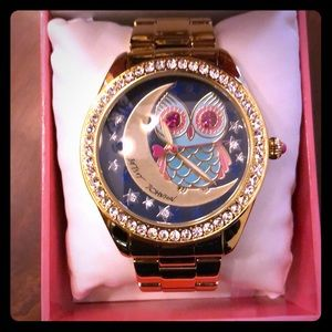Betsey Johnson Gold Owl Moon Star Watch